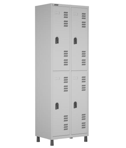 RSPL- 4 - Roupeiro de Aço 4 Vãos | Bitola 26 - com Pitão para Cadeado *Linha Superior W3