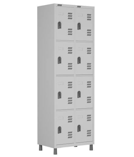 RSPL- 8/4 - Roupeiro de Aço 8 Vãos | Bitola 26 - com Pitão para Cadeado *Linha Superior W3
