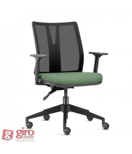 Cadeira para Escritório Addit Assento Verde - Base Piramidal Preta