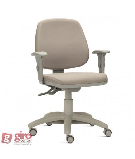 Cadeira Job Baixa Ergonômica com Acabamento Cinza e Braços