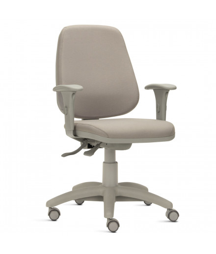 Cadeira Job Alta Ergonômica com Acabamento Cinza e Braços