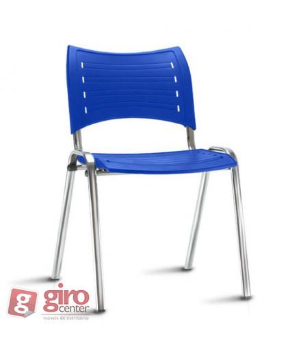 Cadeira Iso Azul Cromada