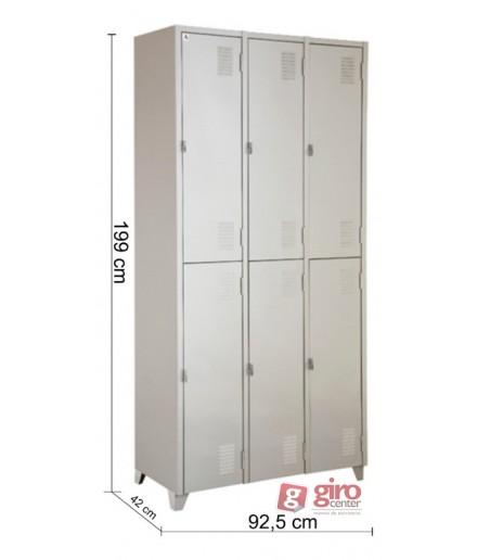 Armário Roupeiro De Aço Vestiário Academia 6 Portas Locker