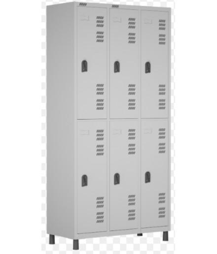 Roupeiro de aço para Vestiário 6 portas grandes W3 Cinza