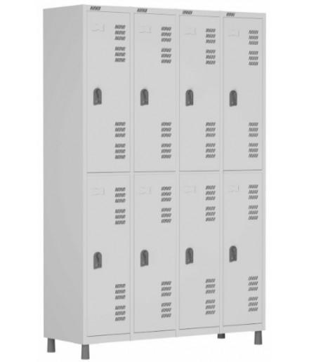 Roupeiro de aço para Vestiário 8 portas grandes W3 Cinza