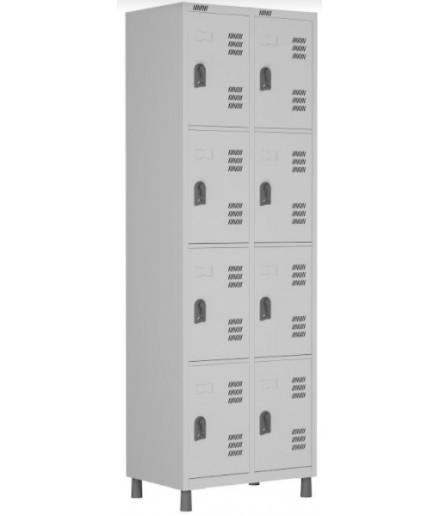 Roupeiro de aço para Vestiário 8 portas pequenas W3 Cinza