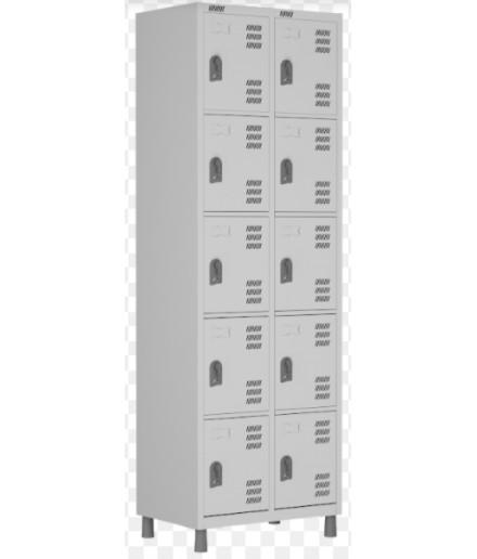 Roupeiro de aço para Vestiário 10 portas pequenas W3 Cinza