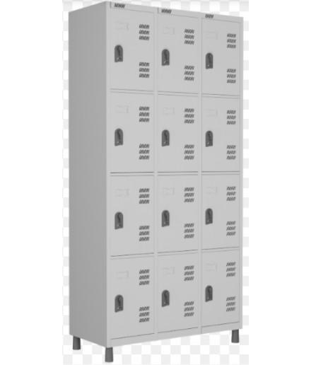 Roupeiro de aço para Vestiário 12 portas pequenas W3 Cinza