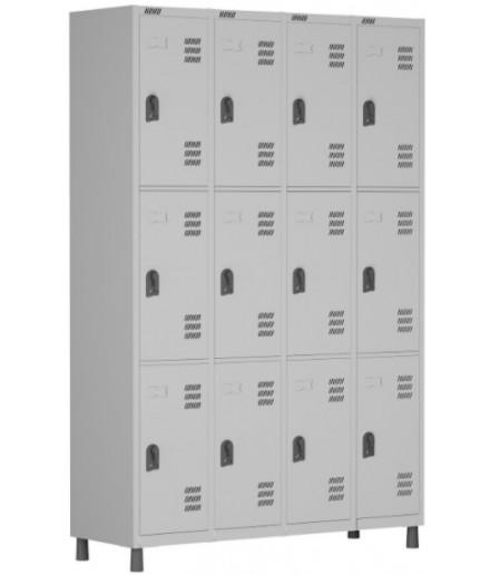 Roupeiro de aço para Vestiário 12 portas médias W3 Cinza