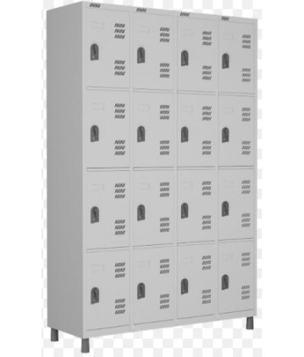 Roupeiro de aço para Vestiário 16 portas médias W3 Cinza