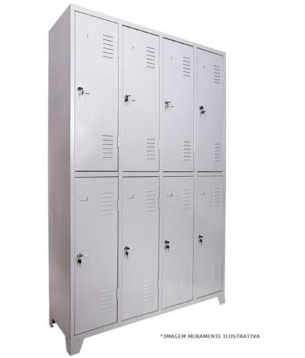 Roupeiro de Aço com 8 Portas para Vestiário Fechadura Chapa 26