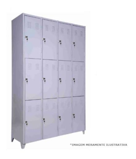 Roupeiro de Aço com 12 Portas para Vestiário Fechadura Chapa 26