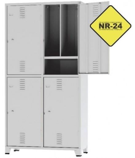 Armário Locker Roupeiro Insalubre NR-24 com 4 Portas com Pitão na Chapa 24 Reforçado