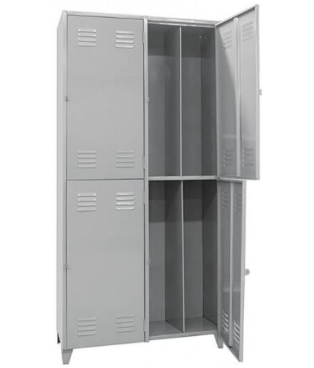 Armário Roupeiro Locker em Aço Insalubre c/ 4 Portas c/ Divisória Vertical Pitão Chapa 26