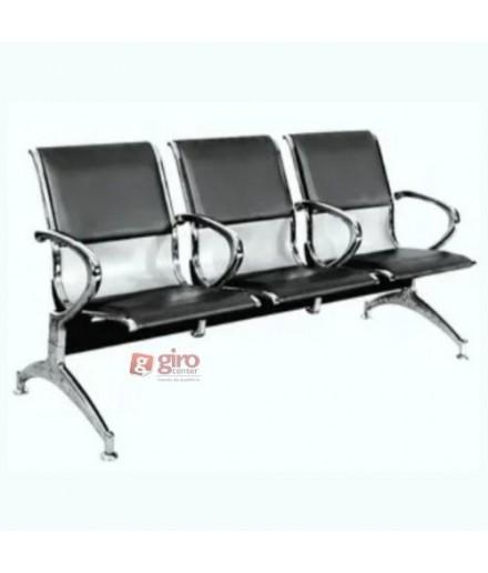 Longarina Aeroporto Charm 3 Lugares - Metálica Cromada | Estofada - Com Braço Intermediário