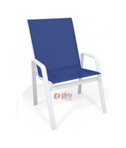 Cadeira Para Piscina Summer - Alumínio Branco e Tela Sling Azul Escuro | Empilhável