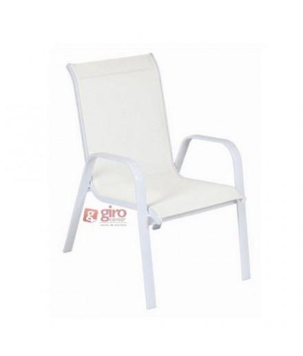 Cadeira Para Piscina Summer - Alumínio Branco e Tela Sling Branca | Empilhável