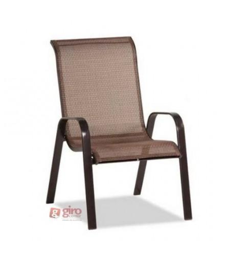 Cadeira Para Piscina Summer - Alumínio Marrom e Tela Sling Marrom | Empilhável