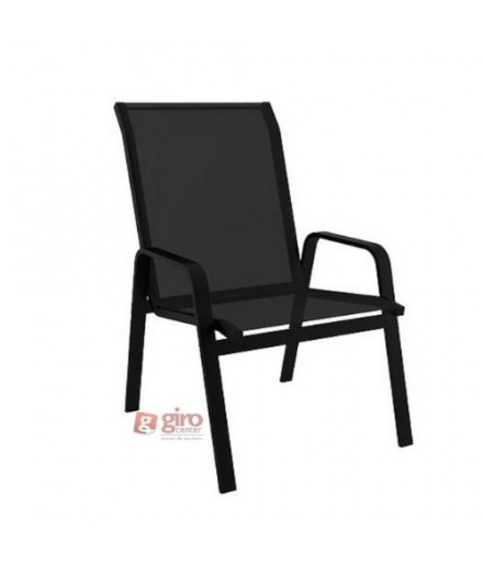Cadeira Para Piscina Summer - Alumínio Preto e Tela Sling Preto | Empilhável