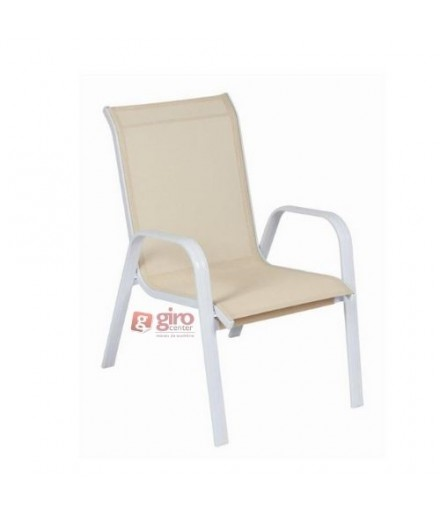 Cadeira Para Piscina Summer- Alumínio Branco e Tela Sling Bege Mesclado | Empilhável