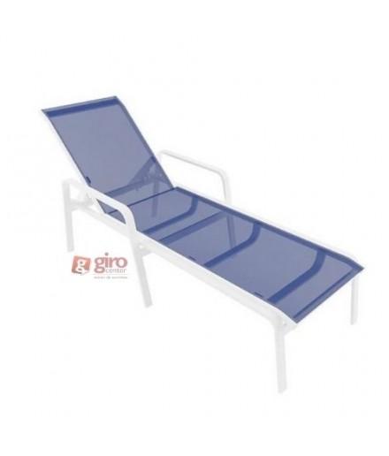 Espreguiçadeira Para Piscina Summer - Alumínio Branco e Tela Sling Azul Escuro | Empilhável